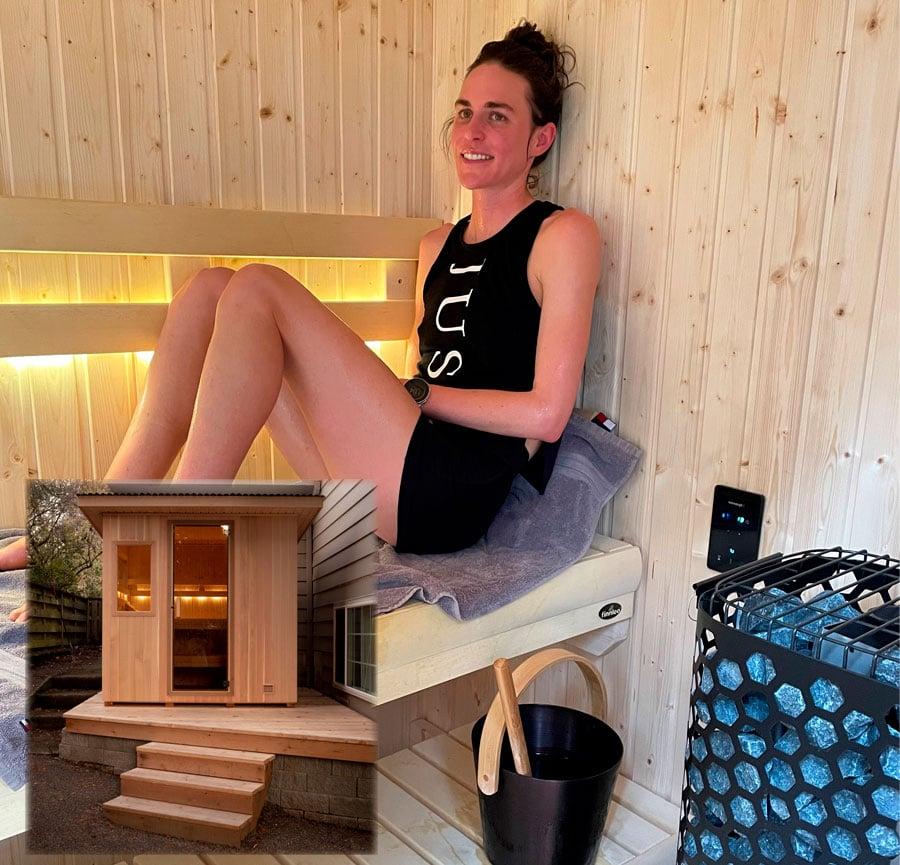 Gwen Jorgensen enjoying her Finnleo Euro Patio sauna.