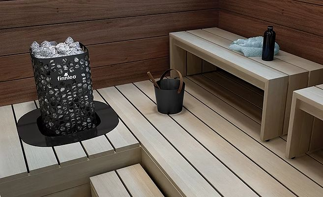 finnleo blackline sauna heater with rento bucket and ladle