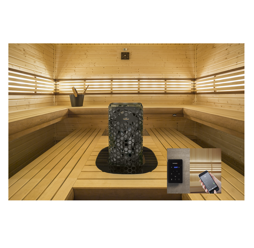 Sauna room with Sl2 and mobile app