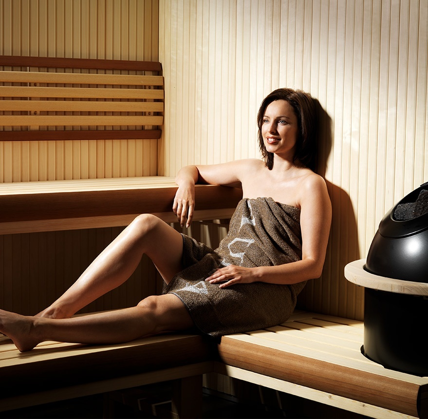 women sitting in sauna