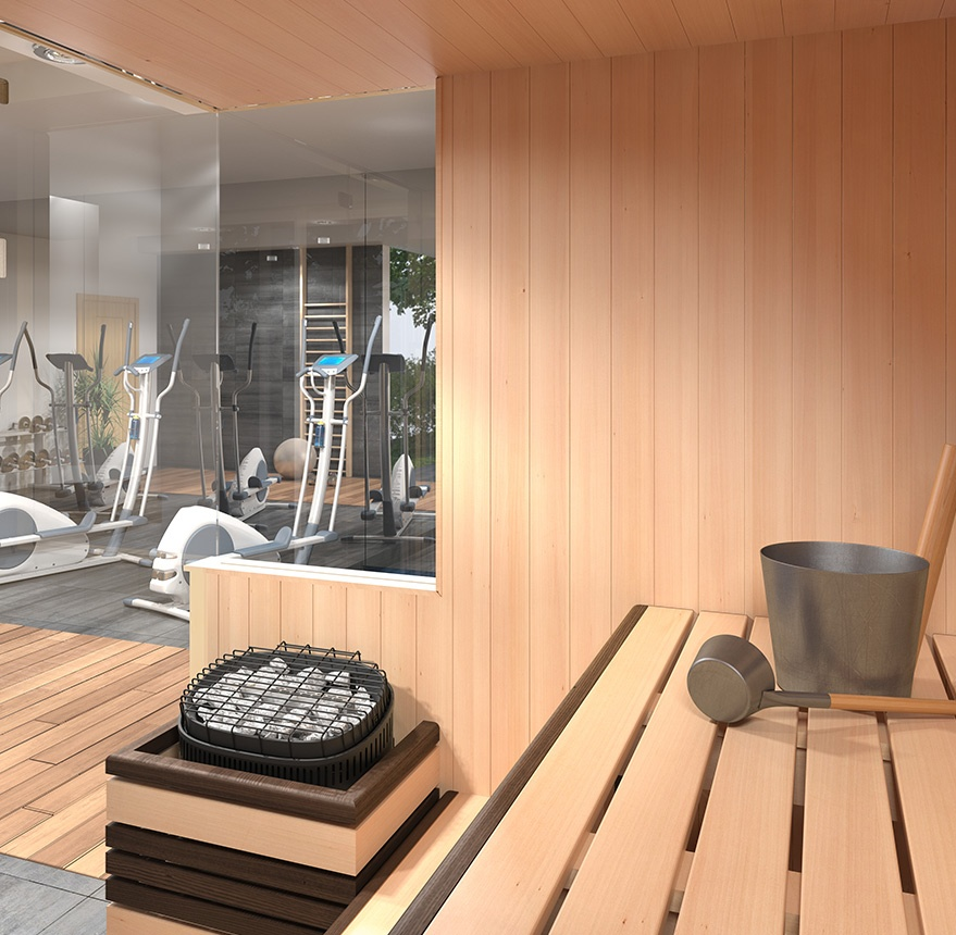 sauna looking into gym