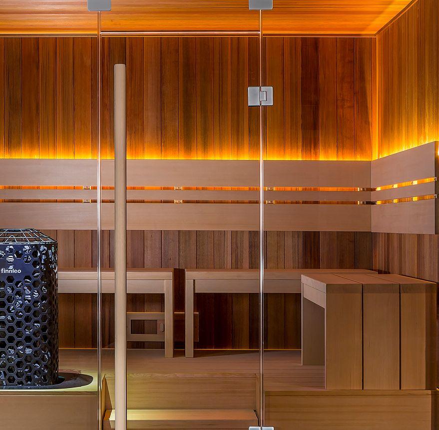 Custom sauna with lights