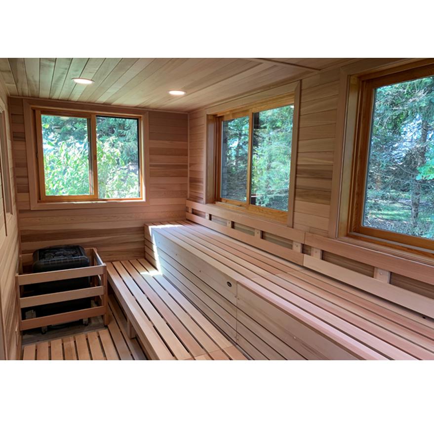 custom-cut outdoor sauna