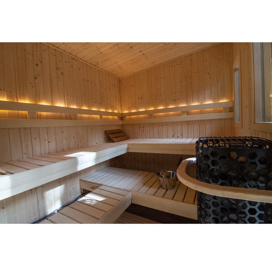 Interior of Custom Euro Patio Outdoor Sauna