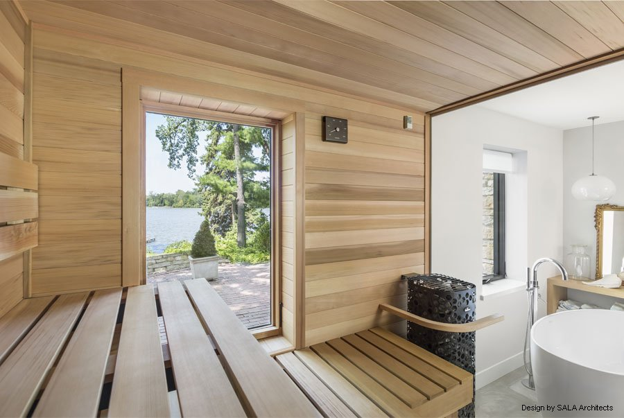 sauna with window