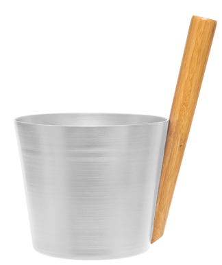 Sauna Bucket - Silver - Straight Handle