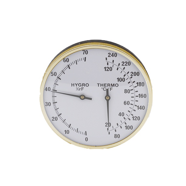 classic 5-inch thermometer hygrometer brass ring