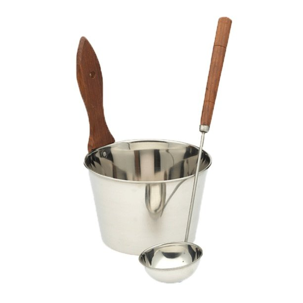 classic stainless steel bucket and ladle