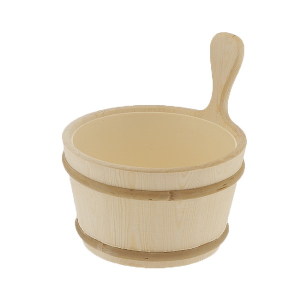 classic wood bucket with plastic liner