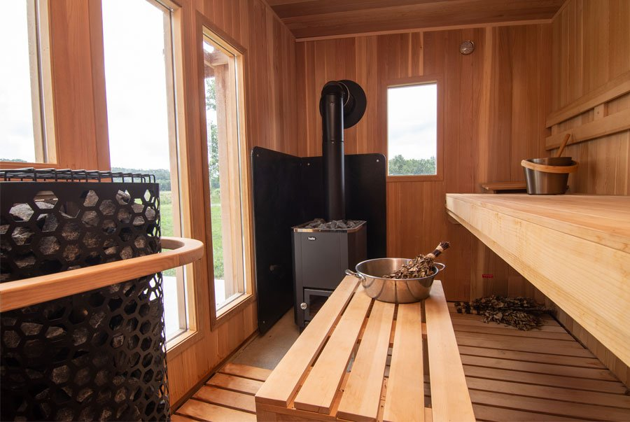 Wood burning and electric heater