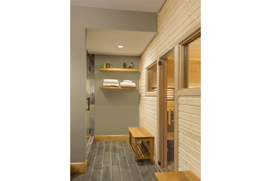 Sauna near shower area and changing room