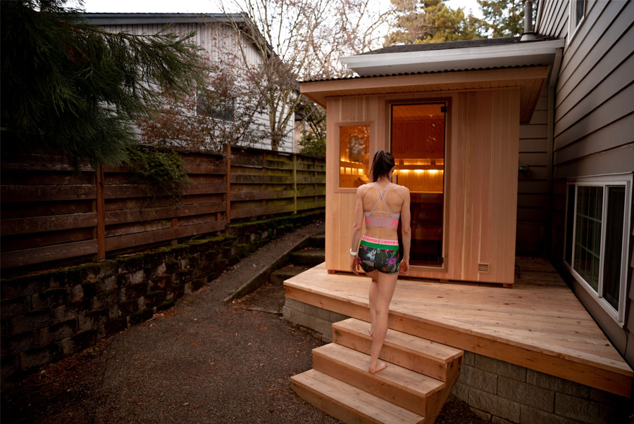 Gwen Jorgensen's backyard Euro Patio sauna
