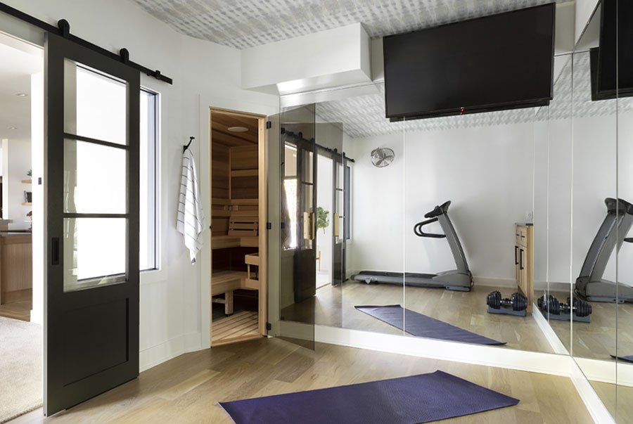 home gym with sauna