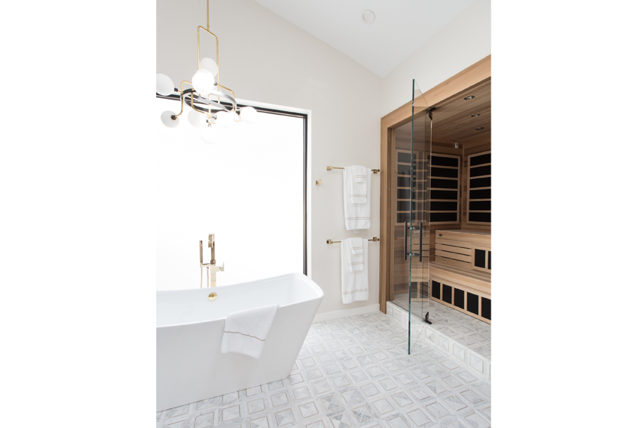 infrared sauna in beautiful master bath
