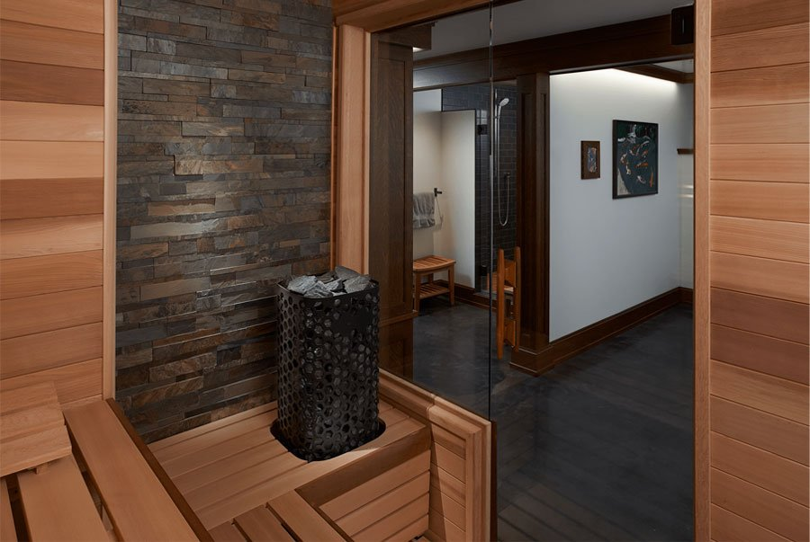 custom-cut sauna with Himalaya rock tower heater