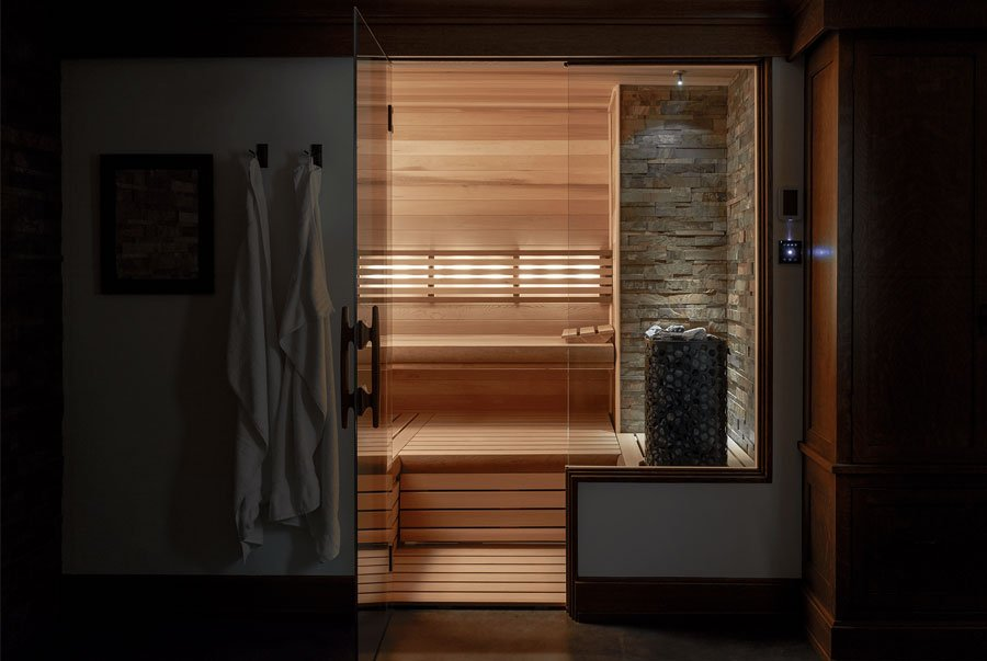 sauna with lighting