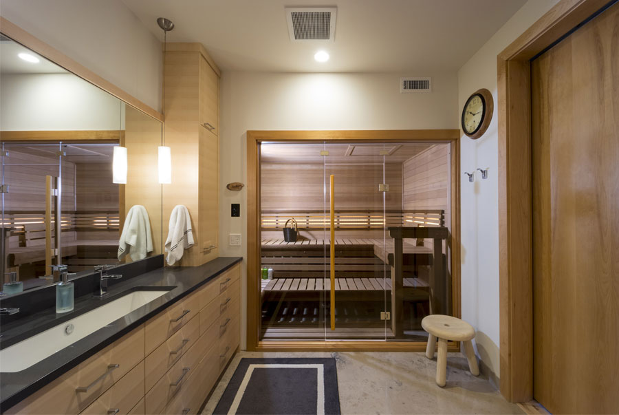 Custom-cut sauna in master bath
